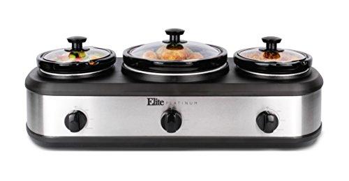 Elite Platinum EWMST-415 Triple Slow Cooker Buffet Server, Adjustable Temp Dishwasher Ceramic Pots, 1 x 4Qt & 2 x 1.5Qt Capacity, Stainless Steel ()