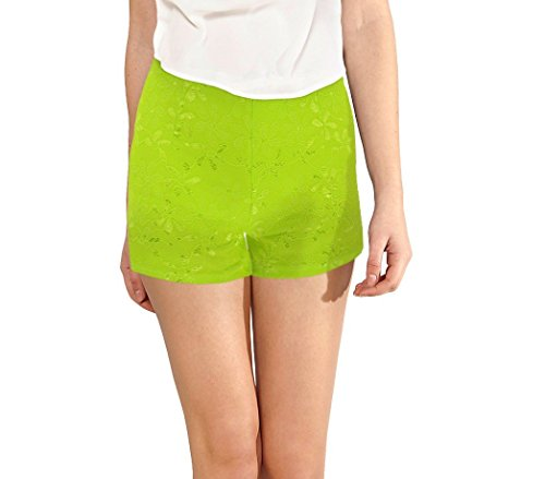 store Shorts in MEDIA ricamato morbido mod XL tessuto WAVE Denise F9330 donna pantaloncino Lime elastico tqqw58zTr