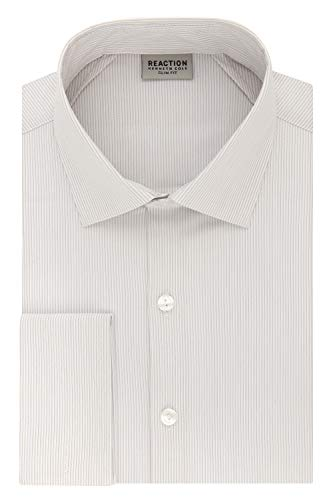 Kenneth Cole REACTION Men's Technicole Slim Fit Stretch Stripe French Cuff Dress Shirt, Taupe, 16.5