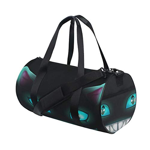 Duffel Custom Disappear Cat Smile Face Weekender Bag Crossbody Duffle Bag Luggage For Teen Dancer Fitness Duffel Workout Gift Badminton Dufflebag ()