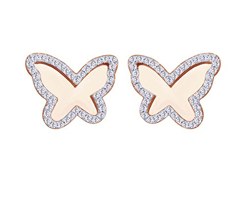 1/3 CT Round Cut White Natural Diamond Butterfly Frame Stud Earrings in 10K Solid (White Gold Diamond Butterfly Pin)