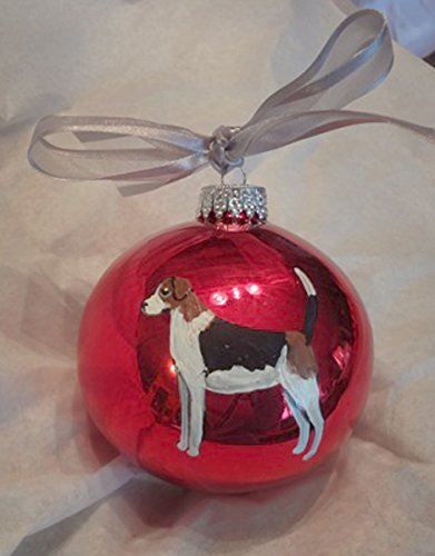 American Foxhound Christmas Ornament - American English Foxhound Dog Hand Painted Christmas Ornament - Can Be Personalized with Name