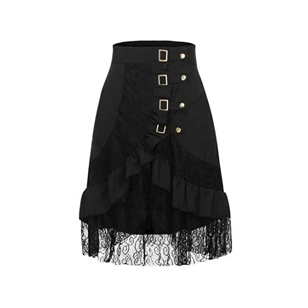 VEZAD Lace Skirt Women's Steampunk Clothing Party Club Wear Punk Gothic Retro Black Skirt 4