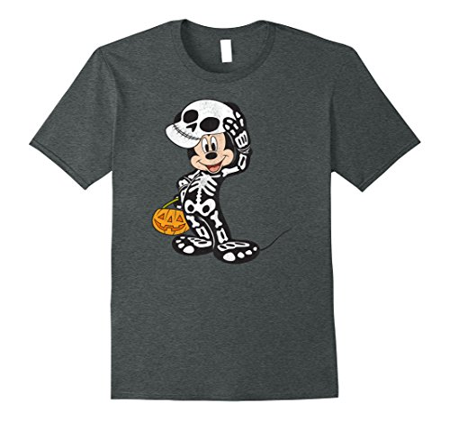 Mickey Mouse Costumes T-shirt (Mens Disney Mickey Mouse Skeleton Costume T Shirt 2XL Dark Heather)