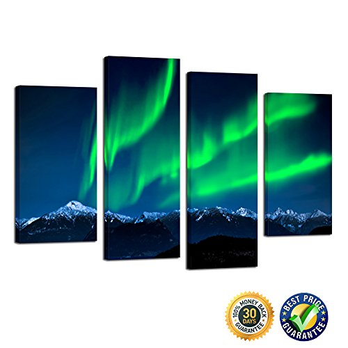 Kreative Arts- 4 Piece Multi Panel Northern Light Aurora Wall Canvas Art Modern Canvas Print Room Decoration Wall Painting Ready to Hang (4 Piece Wall Art)