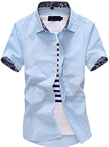 Mens Casual Slim Fit Short Sleeve Button Down Shirt Dress Shirts
