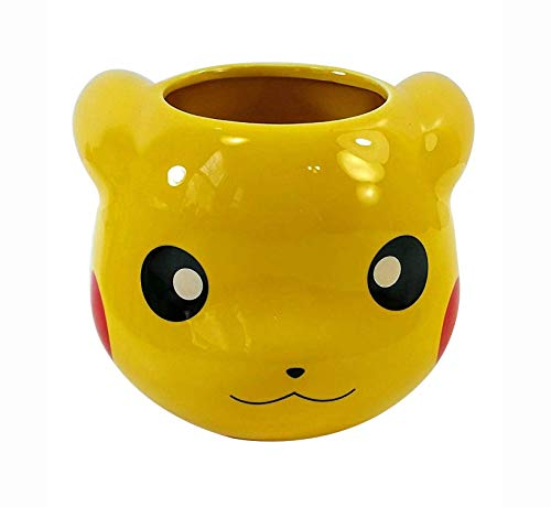 16 OZ Pokemon OFFICIAL Pikachu Face Molded Yellow Ceramic Coffee Mug, Novelty GIFT for Pokemon fans