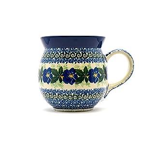 Polish Pottery Mug – 15 oz. Bubble – Blue Pansy