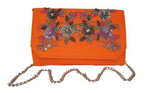 Spice Art Floral Zardozi Embroidered Silk Clutch for Ladies Orange ()