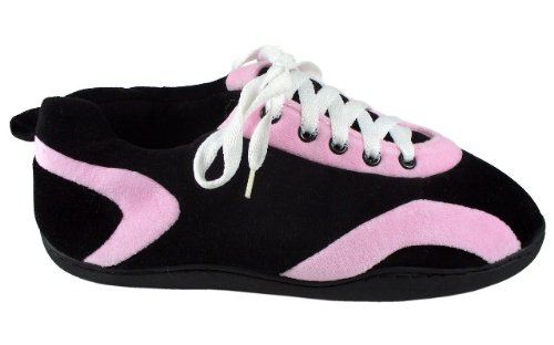 Happy Feet Comfy Feet Mens and Womens All Around Slippers Pink and Black EyvbUnX