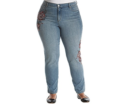 Gloria Vanderbilt Plus Size Amanda Storm Bouquet Jeans (Embroidered Plus Size Jeans)
