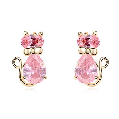 18K Gold Pink Cubic Zirconia Animal Kitty Cat Stud Earrings Hypoallergenic for Girls Women Kids Gifts Idea