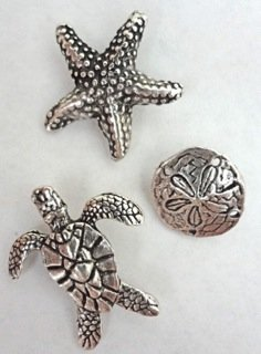 - Antique Silver Sea Life Push Pins, Set of 15