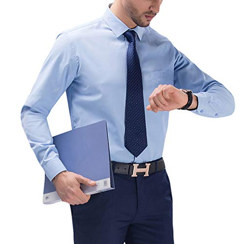 MAGE MALE Men's Luxury Dress Shirt Casual Long Sleeve Fitted Wrinkle Free Shirt