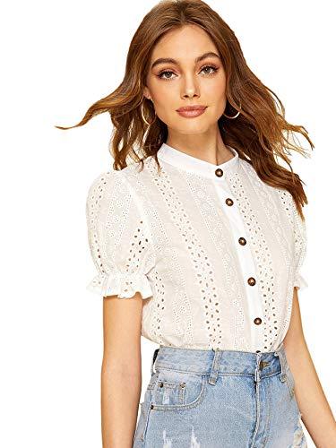 - Floerns Women's Puff Short Sleeve Button Down Sheer Crochet Plain Top Blouse White S