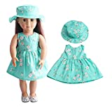 PSFS for 18 Inch American Girl Doll,Cute Flower Dress Doll Suit Accessory Girl's Toy (Green)