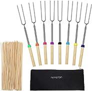 Cabilock 8 peças de palitos telescópicos de madeira Marshmallow com alça de madeira com bolsa portátil para ch