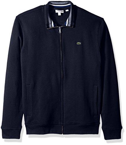 Lacoste Men's Semi Fancy Brushed Pique Fleece Full Zip Sweatshirt, Navy Blue/Multi, 7 by Lacoste