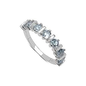 Silvancé - Women's Ring - 925 Sterling Silver - Genuine Gemstone: Aquamarine - R642AQ_SSR_19