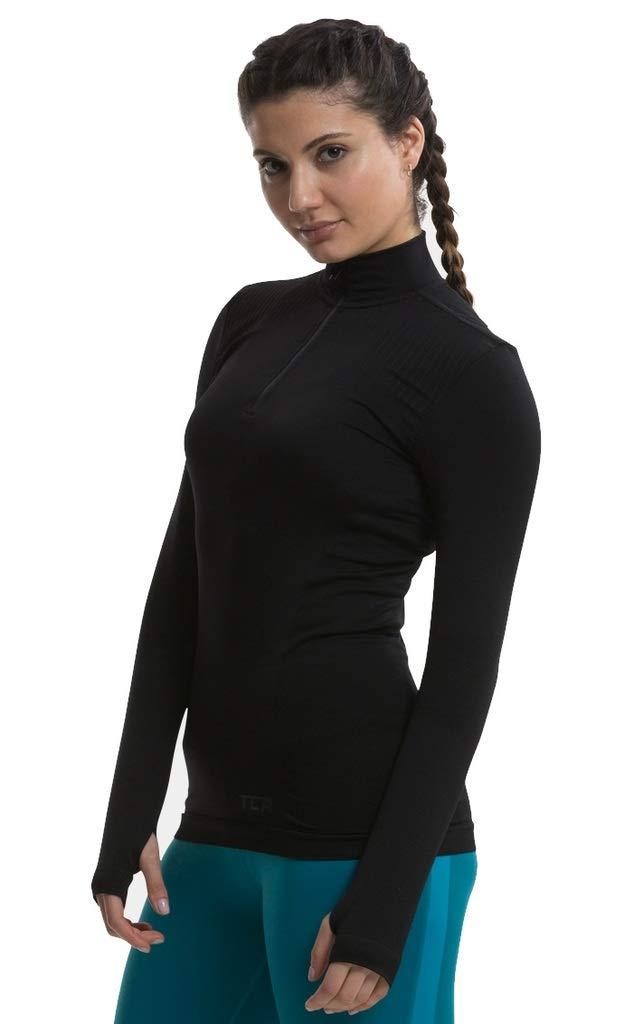 TCA Legend SuperKnit Half Zip Damen Longsleeve Laufshirt mit Daumenl/öchern Langarm