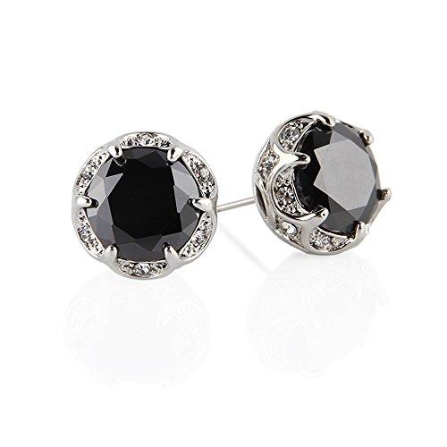 Jardme Crown Shape Crystal Round earring stud White Cubic Zircon Earring Stud (Black)