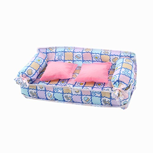 Tinksky-Lovely-Miniature-Dollhouse-Furniture-Flower-Print-Sofa-Couch-with-2-Cushions-for-Barbie-Dolls-Random-Color