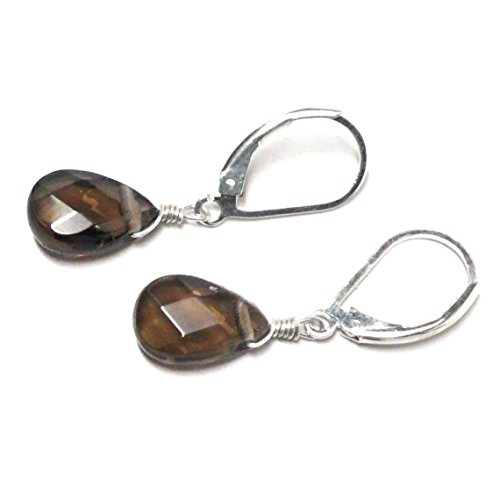 Created Smoky Quartz Briolette Lever Back Earrings Sterling Silver