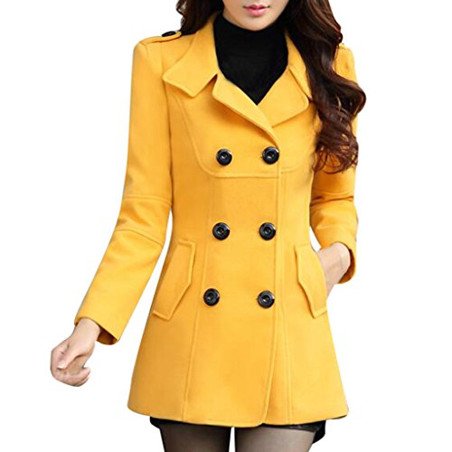 Ms Stunner Women's Winter Spring Solid Color Double Breasted Elegant Wool Coats Yellow US XS 0-2 (Winter Yellow Coat)