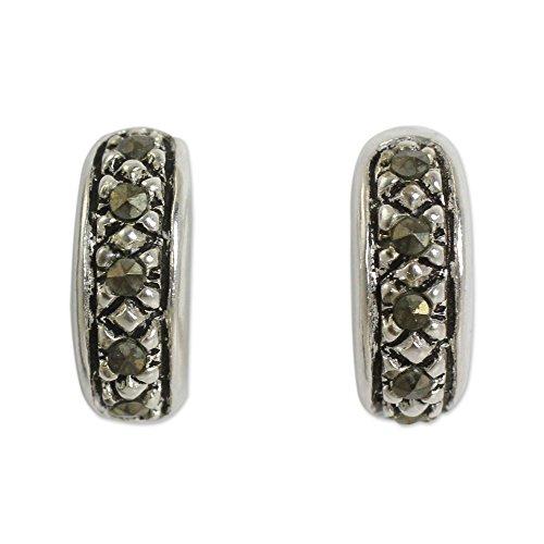 NOVICA Marcasite .925 Sterling Silver Half Hoop Earrings (Novica Marcasite Earrings)