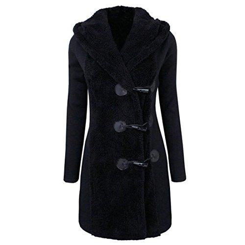 kaifongfu Outwear Women, Fashion Winter Plus Thick Warm Buttons Parka Hoodie Coat Overcoat (Black, XL)