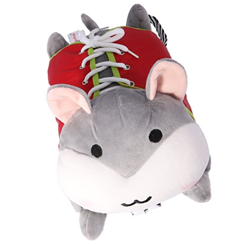 MagiDeal Kid Basic Life Skills Learning Toys Plush Hamster Doll Learn to Zip Button Snap Lace Threading Shoes Educational Toy Gray