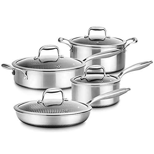 8-Piece Triply Cookware Set Stainless Steel-Triply Kitchenware Pots & Pans Set Kitchen Cookware w/ DAKIN Etching Non…
