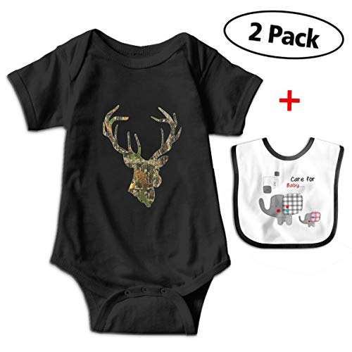 Leopoldson Camoflauge Head Deer Vintage Baby Bodysuits Short Sleeve Infant Jumpsuit with Baby Bib (Camoflauge Baby Headband)