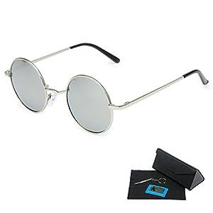 Shushu Jacob Unisex Polarized Sunglasses UV400 Protection 60s Style Round Metal - Silver Lenses Silver Frame