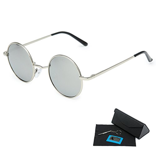 Shushu Jacob Unisex Polarized Sunglasses UV400 Protection 60s Style Round Metal - Silver Lenses Silver - Mens 1960s Sunglasses
