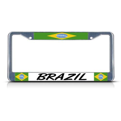 (BRAZIL FLAG BRAZILIAN Chrome Heavy Duty Metal License Plate Frame)