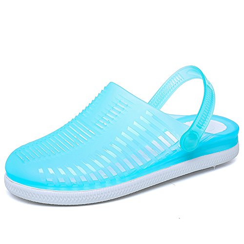 EnllerviiD Women Closed Toe Summer Flat Jelly Sandals Cut-out Rain Garden Beach Slides Shoes 890 Blue 15UDng