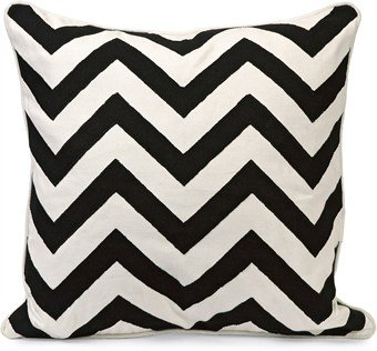 IMAX 97145 Chevron Embroidered Pillow, Black and White