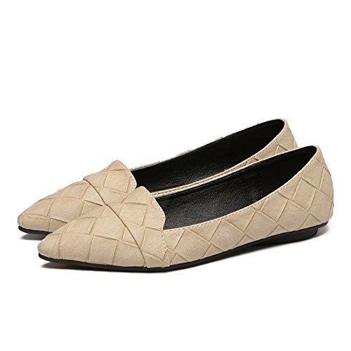 un Calzado luz Solo Simple Trabajo Mujer Plano Qiqi Zapatos Zapatos de Beige 4 Calzado Plano Casual Sugerencia con Xue RI6wzXx