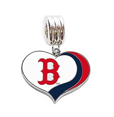 Heavens Jewelry BOSTON RED SOX BASEBALL HEART TEAM CHARM SLIDE PENDANT FOR NECKLACE EUROPEAN CHARM BRACELET (Fits Most Name Brands) DIY ETC
