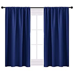 PONY DANCE Bedroom Blue Curtains - Blackout Draperies Rod Pocket Top Blackout Curtain Panels/Window Treatments Home Decoration for Kids' Room, Navy Blue, W 42 x L 45 inches, 2 Panels
