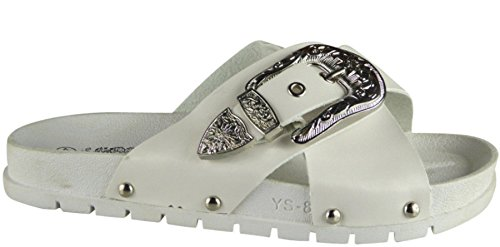 Definitely You Ladies Womens Studded Buckle Slip On Summer Sliders Mules Sandals Shoes Size White Crossover Strap txin2