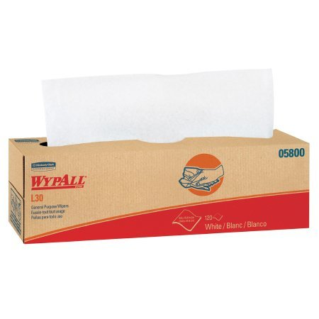 WypAll* L30 Task Wipe Light Duty White Double Re-Creped 9-4/5 X 16-2/5 Inch Disposable