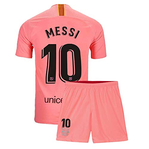 19 Away Soccer Jersey - Youth Messi Jersey Barcelona 10 Kids 2018/19 Away Soccer Shorts Lionel Sizes Pink (L=26(9-10Years Old))
