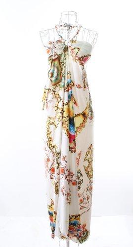 思春期西アブストラクト大人可愛い マキシ丈 肌さわりの良い 花柄 ワンピース レディース (M, ホワイト)