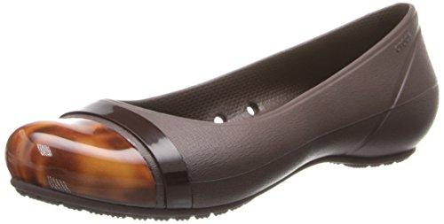 Crocs Women's Cap Toe Tortoise Flat Shoes  - 11.0 M