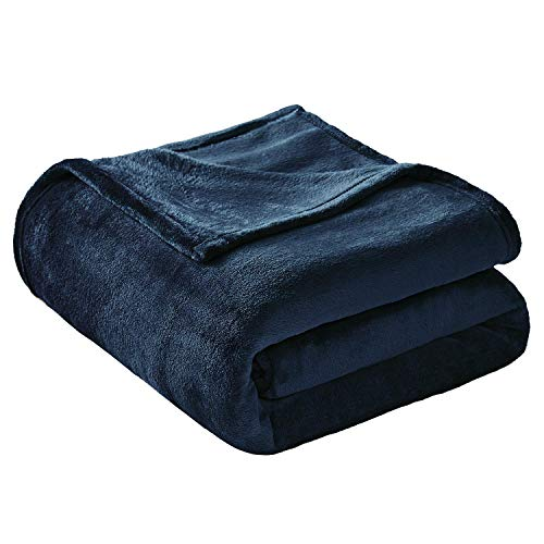 VEEYOO Flannel Fleece Blanket King Size - Extra Cozy All Seasons Soft Plush Microfiber Couch Bed Blanket, Navy