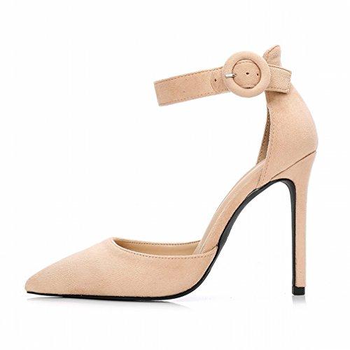 la Boca Superficial de Gamuza de Tacón Alto Fina con Pequeños Zapatos de Hebilla de Palabra Femenina Re