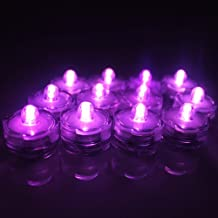 BrainyDeal® 12x LED Submersible Waterproof Wedding Xmas Floral Decoration Tea Vase Battery light Candles - Pink-purple