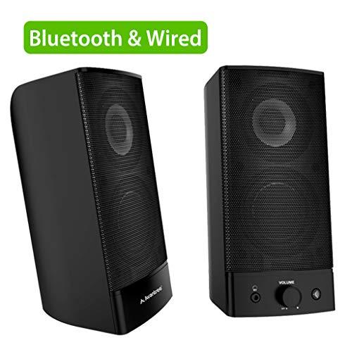 Avantree Desktop Bluetooth PC Computer Speakers, Wireless & Wired 2-in-1, Superb Stereo Audio, AC Powered 3.5mm / RCA Multimedia External Speakers for Laptop, Mac, TV - SP750